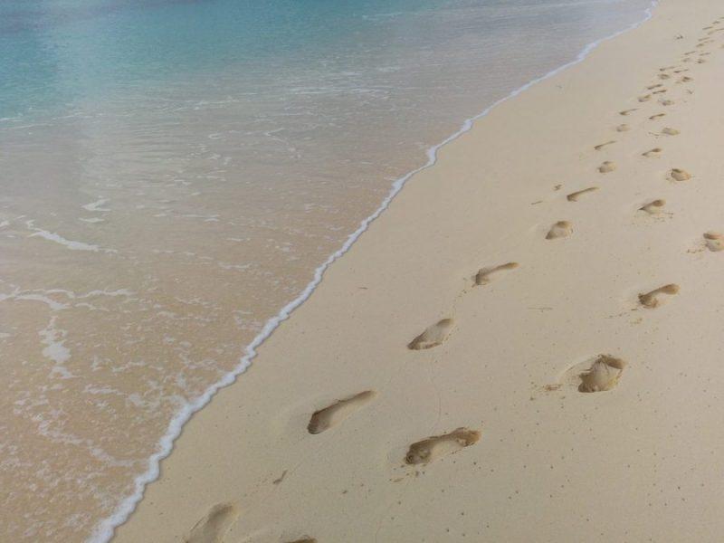 pas plage mer trace