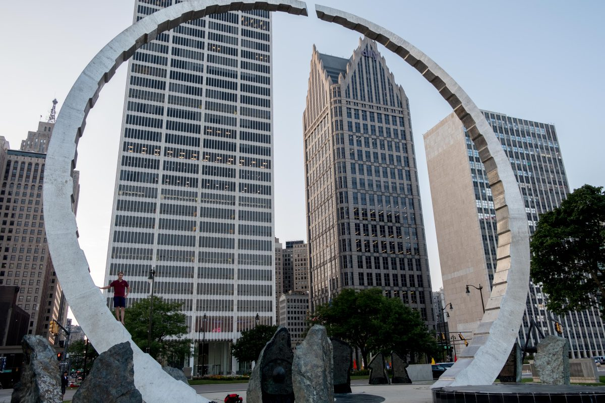 The Michigan Labor Legacy Monument.