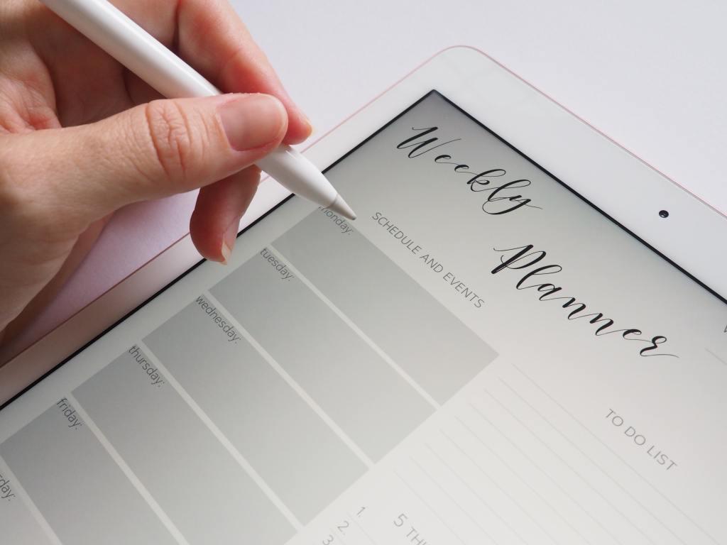 organisation, planning hebdomadaire