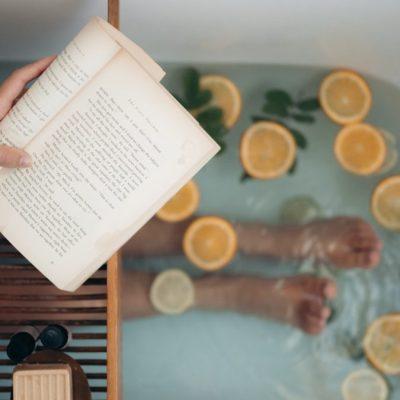 lecture, bain, détente
