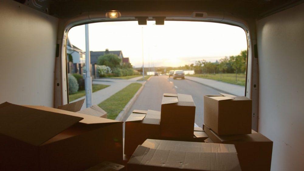 déménagement, camion, cartons