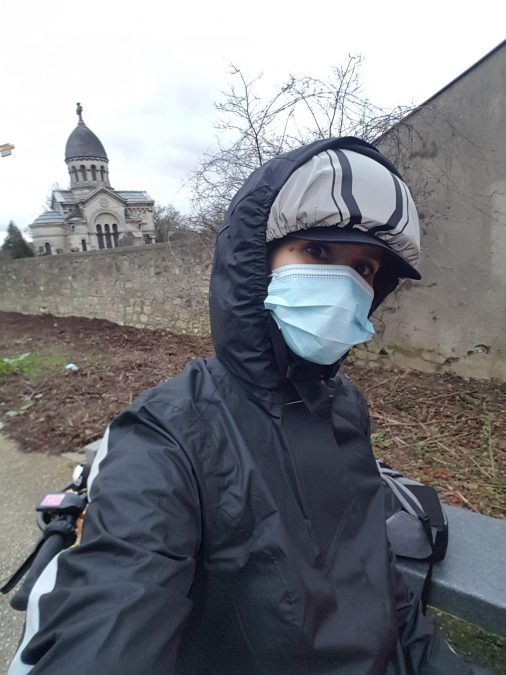 tenue vélo pluie masque Covid