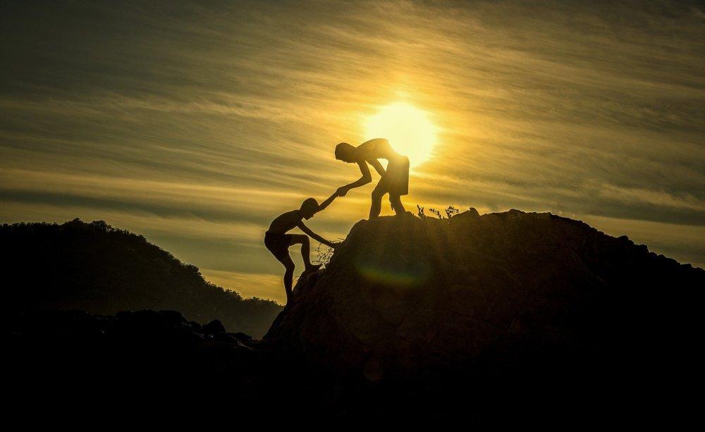 escalade, lever de soleil, amitié